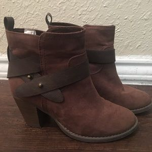 Old Navy brown suede ankle boots booties